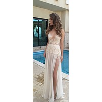 Sexy Wedding Dress with Slit, Bride Dress, Bridal Gown ,Dresses For Brides, PM0066