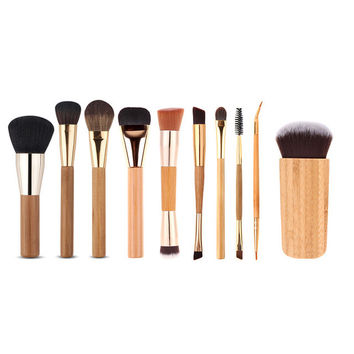 10Pcs Professional Bamboo Handle Multifunction Makeup Brushes Set Face Eyeshadow Foundation Cosmetic Tools