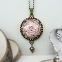 Pink Rose Necklace, Nature Jewelry, Pink Flower Necklace, Flower Jewelry, Glass Ball Necklace Glass Pendant, Flower Pendant Necklace