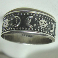 Moon & Sun Sterling Silver Ring by BelleImageBijoux on Etsy