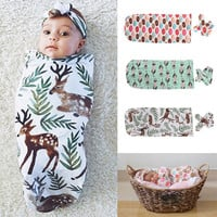 2Pcs Newborn Baby Swaddles Infant Bebes Bedding Cotton Swaddle Blanket Wrap Sleeping Sleepsack 0-12