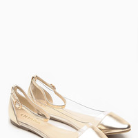 Liliana Gold Pointed Toe Ankle Strap Vinyl Flats