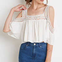 Crocheted Open-Shoulder Crop Top
