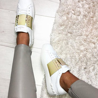 Valentino casual shoes million years classic color matching series sneakers gold