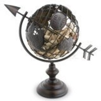 Cork Cage Corks Of The World Globe Shaped Wine Accessory, Black