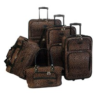 American Flyer Luggage, 5-pc. Leopard Luggage Set (Brown)