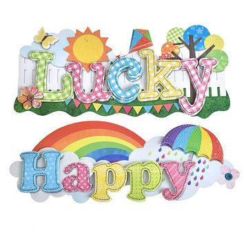 Lucky and Happy Word Art Stickers, 5-1/2-Inch, 2-Piece