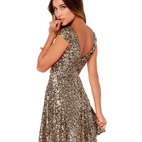 Sequin Skater Cap-Sleeve Dress