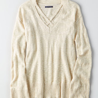 AEO Strappy V-Neck Sweater, Oatmeal