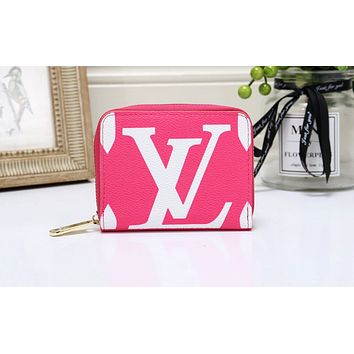 Louis vuitton is a big seller of small ladies' printed handbags and fashionable purses Rose Red
