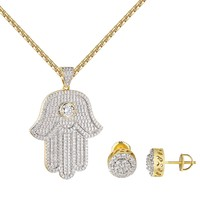 Hamsa Hand Evil Eye Pendant  14k Gold Finish Earrings Stud Chain Combo