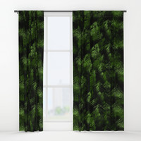 Dark Abstract Greens Window Curtains by kasseggs