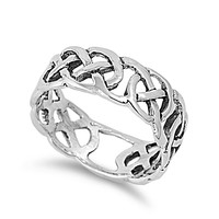 925 Sterling Silver Wiccan Weave Earth Symbol Ring