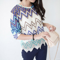 Retro Contrast Color Hollow Out Wave Sweater/Knitwear