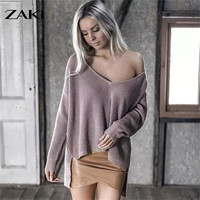 2016 new female sexy fashion loose V neck Knitting pullover autumn winter big size casual irregular Off shoulder long sweater
