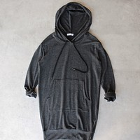 Michelle by Comune - Quinlan Charcoal French Terry Hoodie Dress