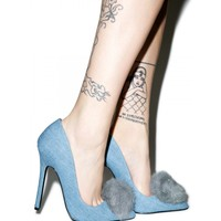 DENIM PLAYBOI PUFF HEELS