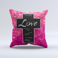 Love is Patient Cross over Unfocused Pink Glimmer  Ink-Fuzed Decorative Throw Pillow