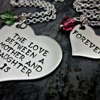 The love between a mother and daughter is forever matching SET - Mother Daughter Necklaces