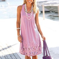 European And American Women's Sleeveless Printed Loose Dress