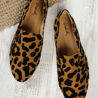 Faux Suede Leopard Slip On Loafers