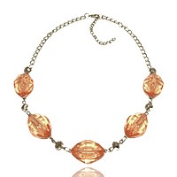 Transparent Plastic Oval Bead Chain Necklace