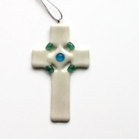 Cross Ornament #christmasornament , #cross, #glasscross