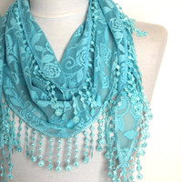 turquoise scarf, lace scarf, scarf, gift