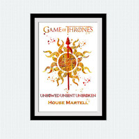 Game of Thrones art print House Martell watercolor poster Game of Thrones decor Home decoration Kids room wall art Nursery room decor W611