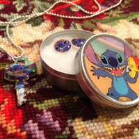 Disney's Lilo and Stitch Altered Art Key Necklace and Earrings Set