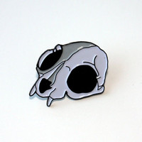 cat skull enamel pin