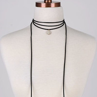 Steal My Heart Black Rope Necklace With Pendant