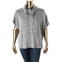 INC Womens Plus Marled Cowl Neck Knit Top
