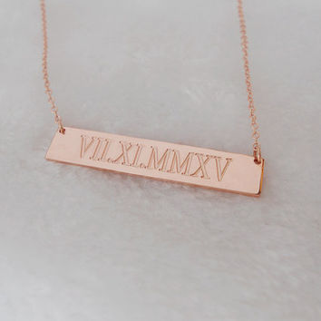 Rose Gold Bar Necklace,Roman Numeral Bar Necklace,Wedding Date Bar Necklace,Personalized Nameplate Necklace,Gold Bar Jewelry,Date Necklace