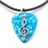 Guitar Pick Necklace with Music Clef Note Charm on Blue Guitar Pick Unique Design By Atlantic Seabo