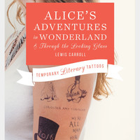Litographs Temporary Literary Tattoo Packs - Alice's Adventures in Wonderland, Jane Eyre, Hamlet, Pride & Prejudice, The Adventures of Sherlock Holmes or Walden