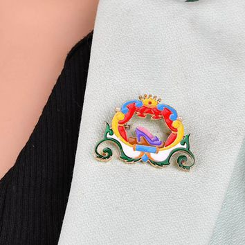 New Flower Cinderella's Pumpkin Clothing Accessories Enamel Pin Brooch Badge Backpack Decoration Brooches For Women Men