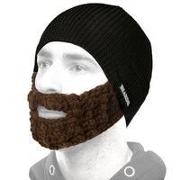 BEARDO Hat with Attached Brown Beard, Black Brown, One Size