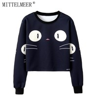 MITTELMEER 2018 bts Harajuku Sweatshirt Woman girls crop top Cartoon cute cat Bear banana fruit printing short Sweatshirt Hooded