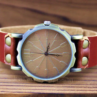 Brown leather neutral watches, men 's and women' s watch, the best friendship gifts, Christmas gifts