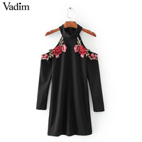 women off shoulder flower patch halter dress stretchy long sleeve black ladies winter autumn bodycon dresses vestidos QZ2743