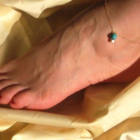 Turquoise Ankle Bracelet, Turquoise Anklet, 14k Gold Filled or 925 Sterling Silver, Delicate Anklet, Charm Gemstone Anklet, Foot Jewelry