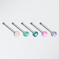 5 Pcs of Steel Opal Sparkle Nose Stud Ring Pack