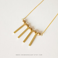 Statement Necklace / Tribal Necklace / Gold Chain Necklace / Drop Bar Necklace / Beaded Necklace / Everyday Necklace / Gold Bar Necklace