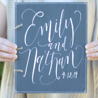 Rustic Wooden Guest Book with Personalized Frame - Rustic / Vintage Wedding