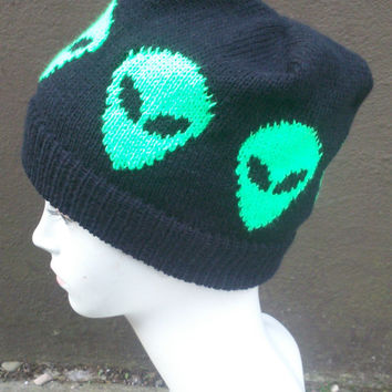 Knitted Alien Hat, Beanie Hat, Black And Green.