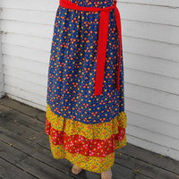Vintage 70s Country Floral Full Skirt Tiered Print M