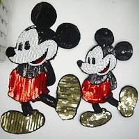 Clothes Parent-child outfit sequins patch Iron on patches for clothing mickey Diy Jacket Shirt Polo Cap Jeans Free shipping
