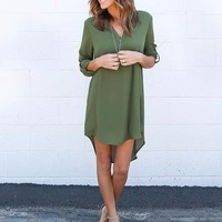 Women's Olive Green Spring V-Neck Chiffon Casual 3/4 Sleeve Solid Tunic Dress