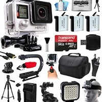 GoPro HERO4 Hero 4 Black Edition 4K Action Camera Camcorder with 64GB MicroSD, 3x Battery, Charger, Large Case, Handle, Tripod, Car Mount, LED Video Light, Head Helmet Strap, Cleaning Kit(CHDHX-401)